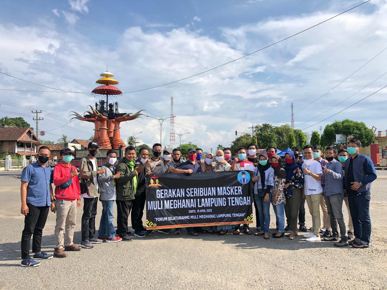 Tangkal Penyebaran Covid-19, Forum Muli Mekhanai Bagikan Ribuan Masker Gratis di Lampung Tengah
