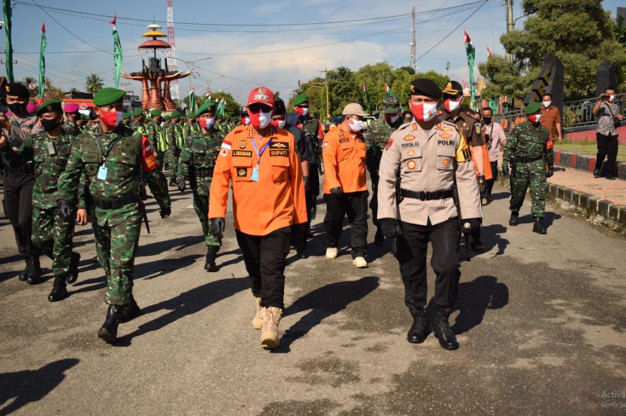 Pemda TNI Dan Polri Apel Siaga Penegakan Disiplin Mematuhi Protokol Kesehatan Covid 19