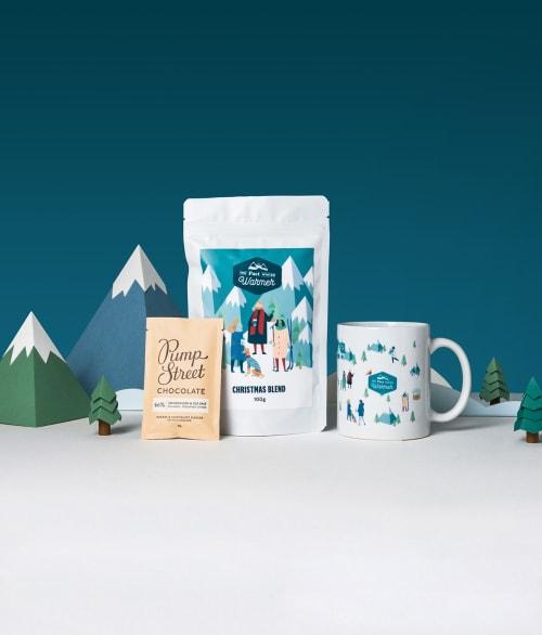Secret Santa Bundle on a snowy background with mountains