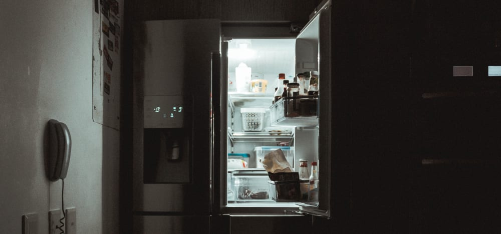 A picture of a kitchen fridge