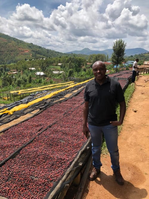 Sam from Bufcoffee by drying beds