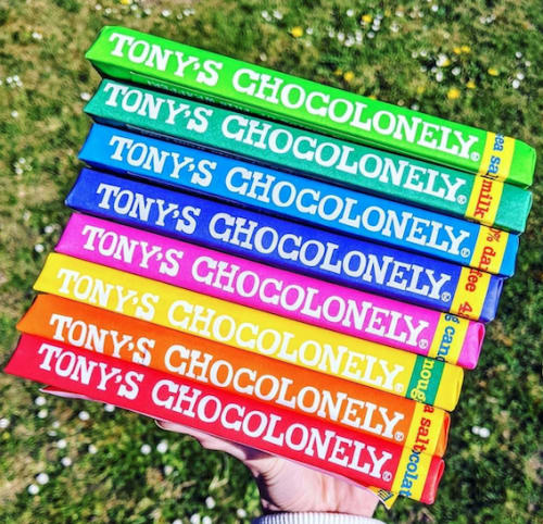 A stack of Tony's Chocolonely bars