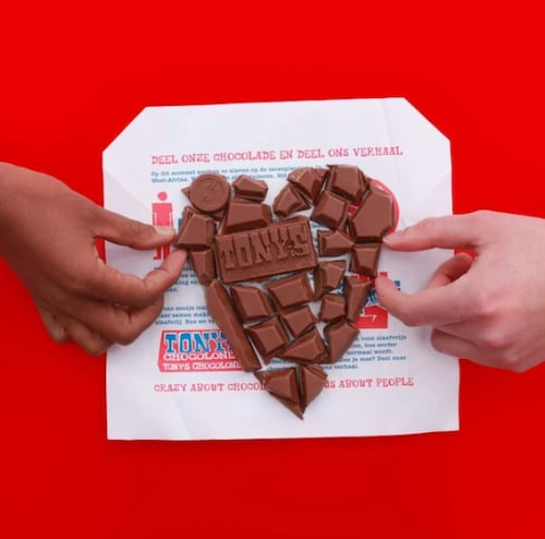 A picture of Tony's Chocolonely in the shape of a heart