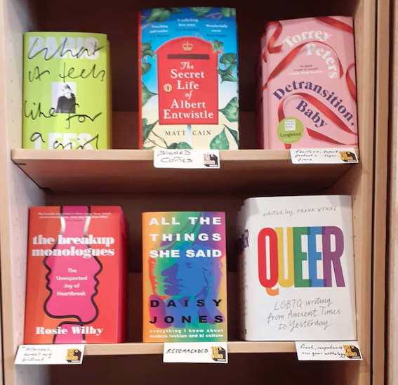 A picture of LGBT themed books