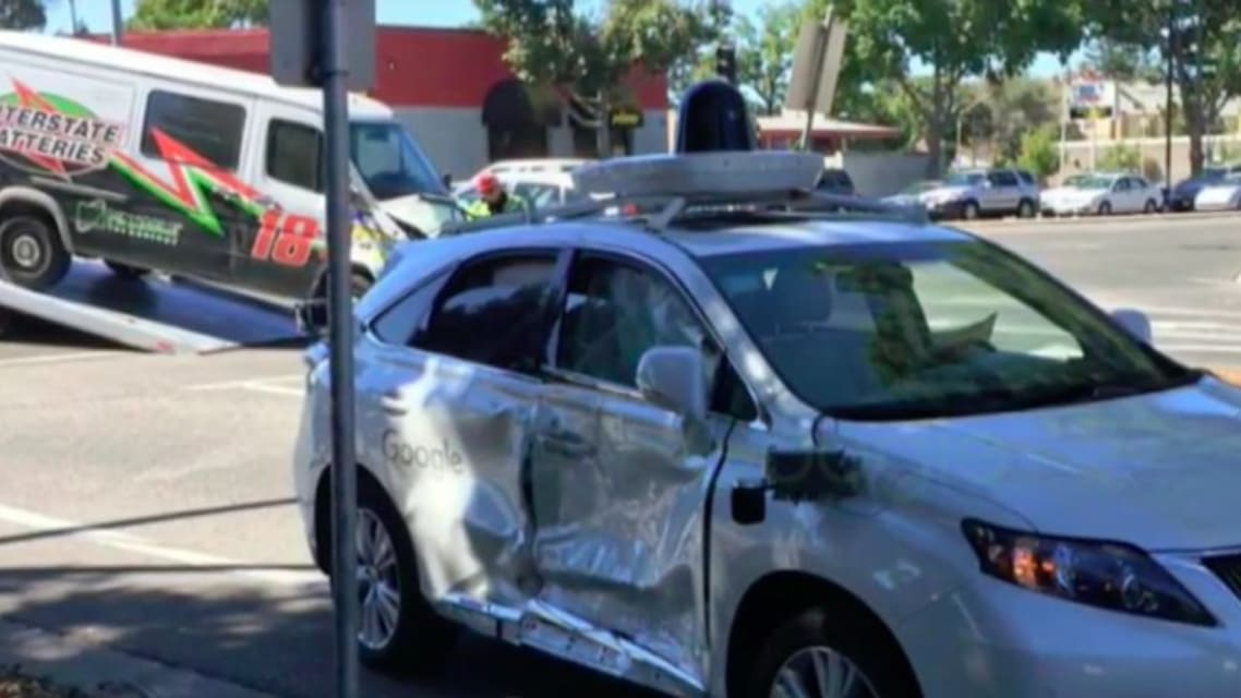 Google self-driving car badly damaged in accident but wasn't at fault