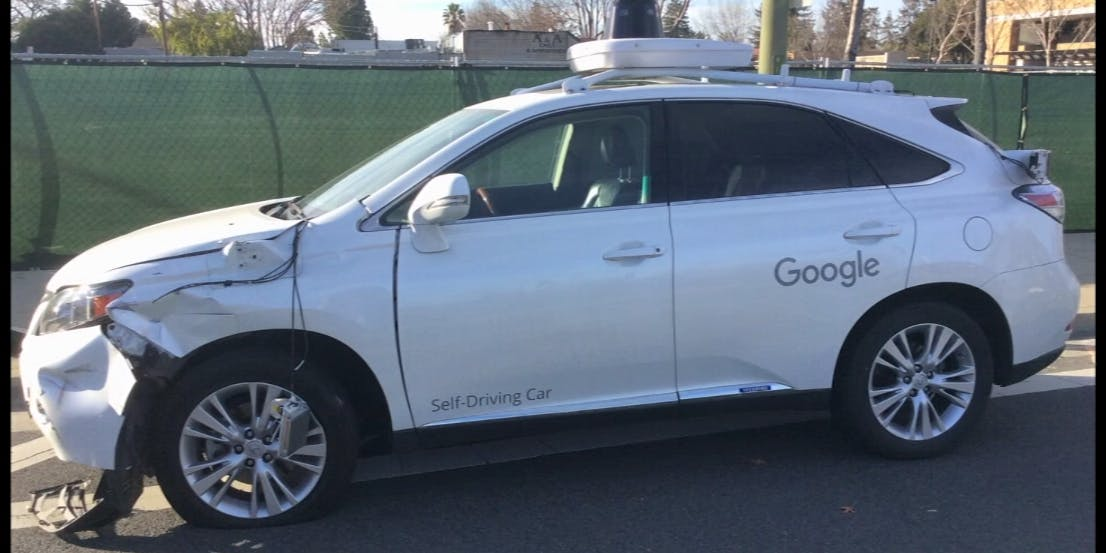 Watch Google's Self-Driving Lexus Crash Into a California Bus