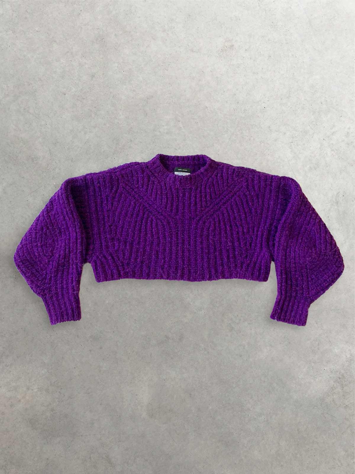 Packshot du produit Pull Violet Cropped et Oversize à Manches Bouffantes de la marque Isabel Marant