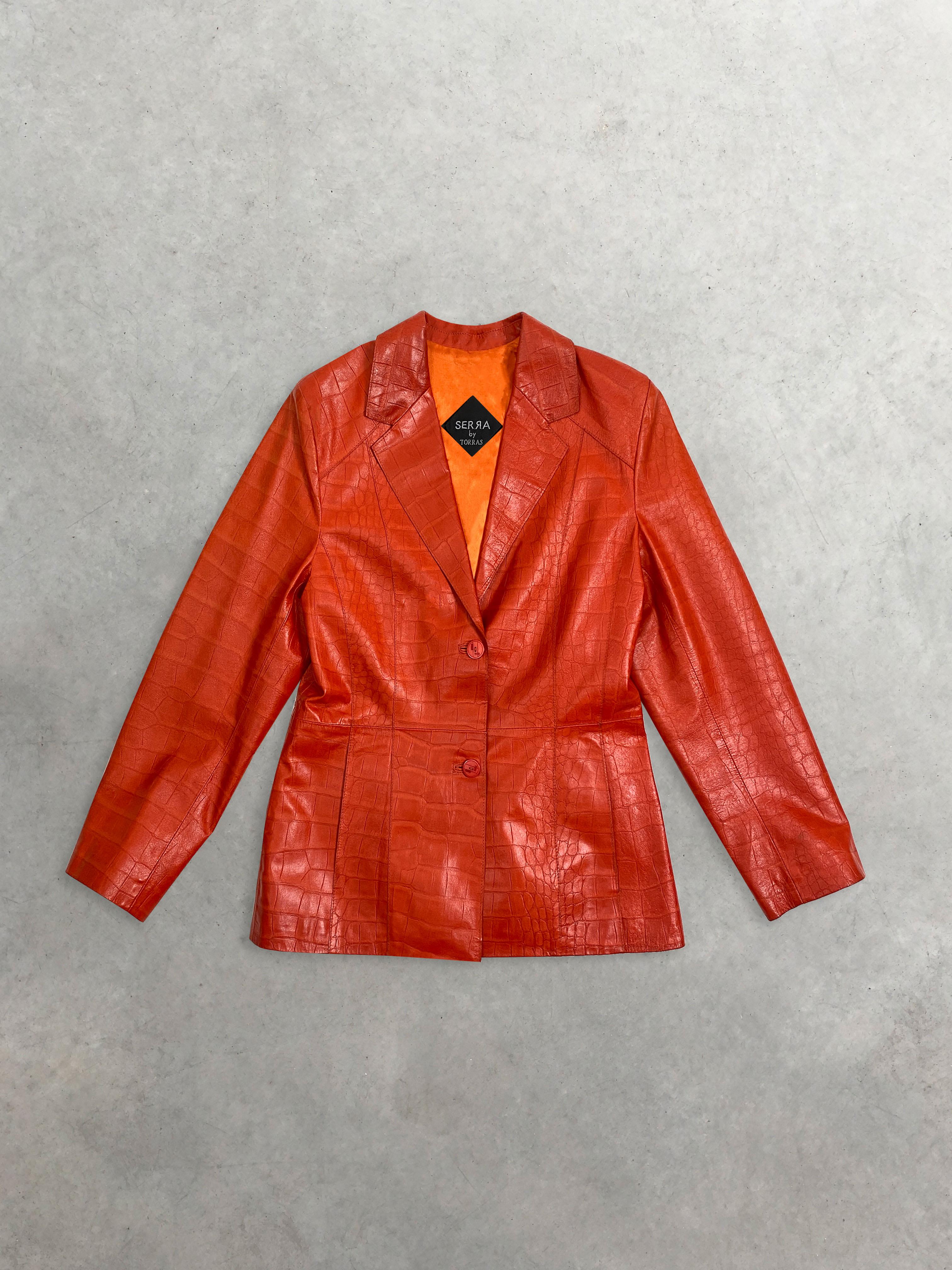 Packshot de Veste Tailleur en Cuir Orange Serra by Torras Vintage par la marque Vintage