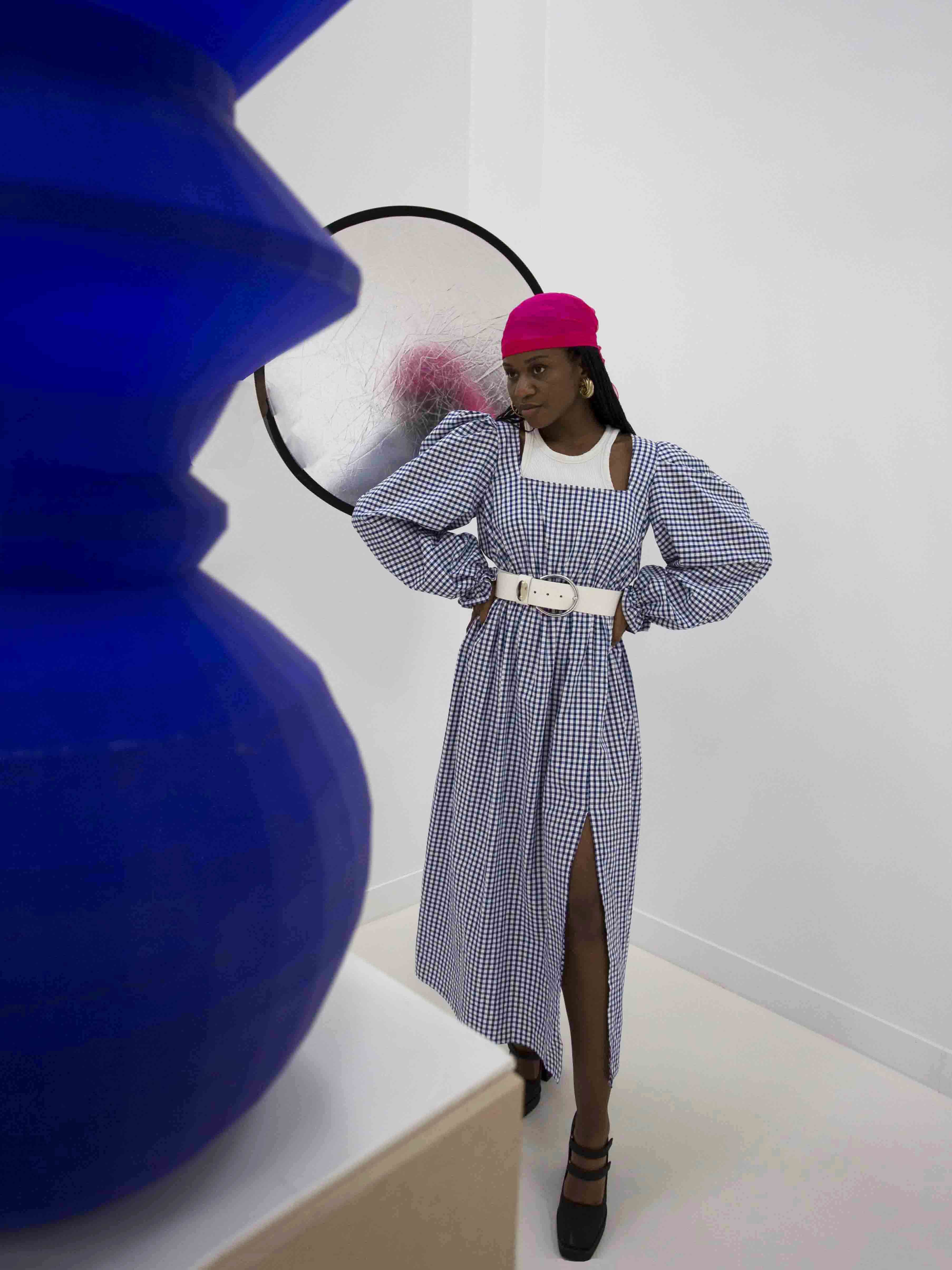 Packshot de Robe Bardot en vichy par la marque Studio Rosalie