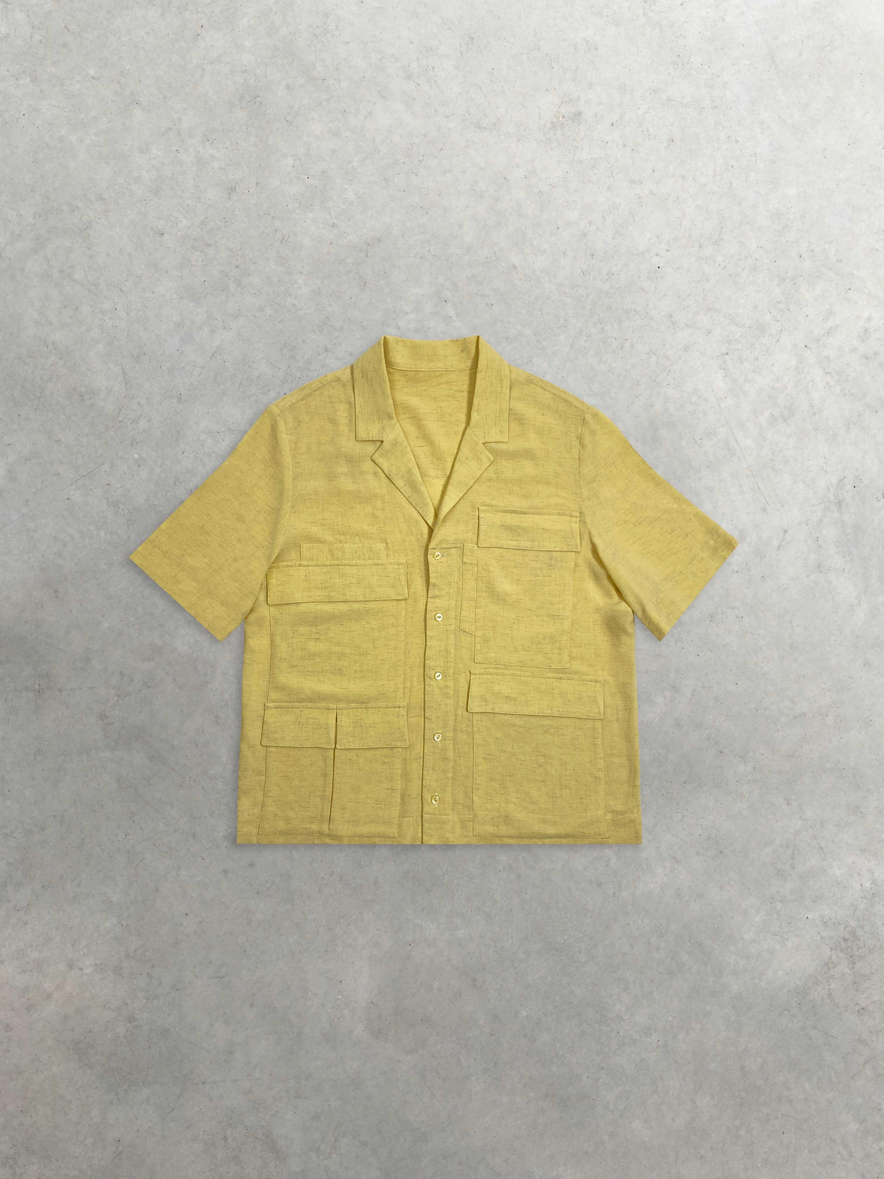 Packshot du produit Chemisette Cargo en Lin Jaune de la marque Leloup