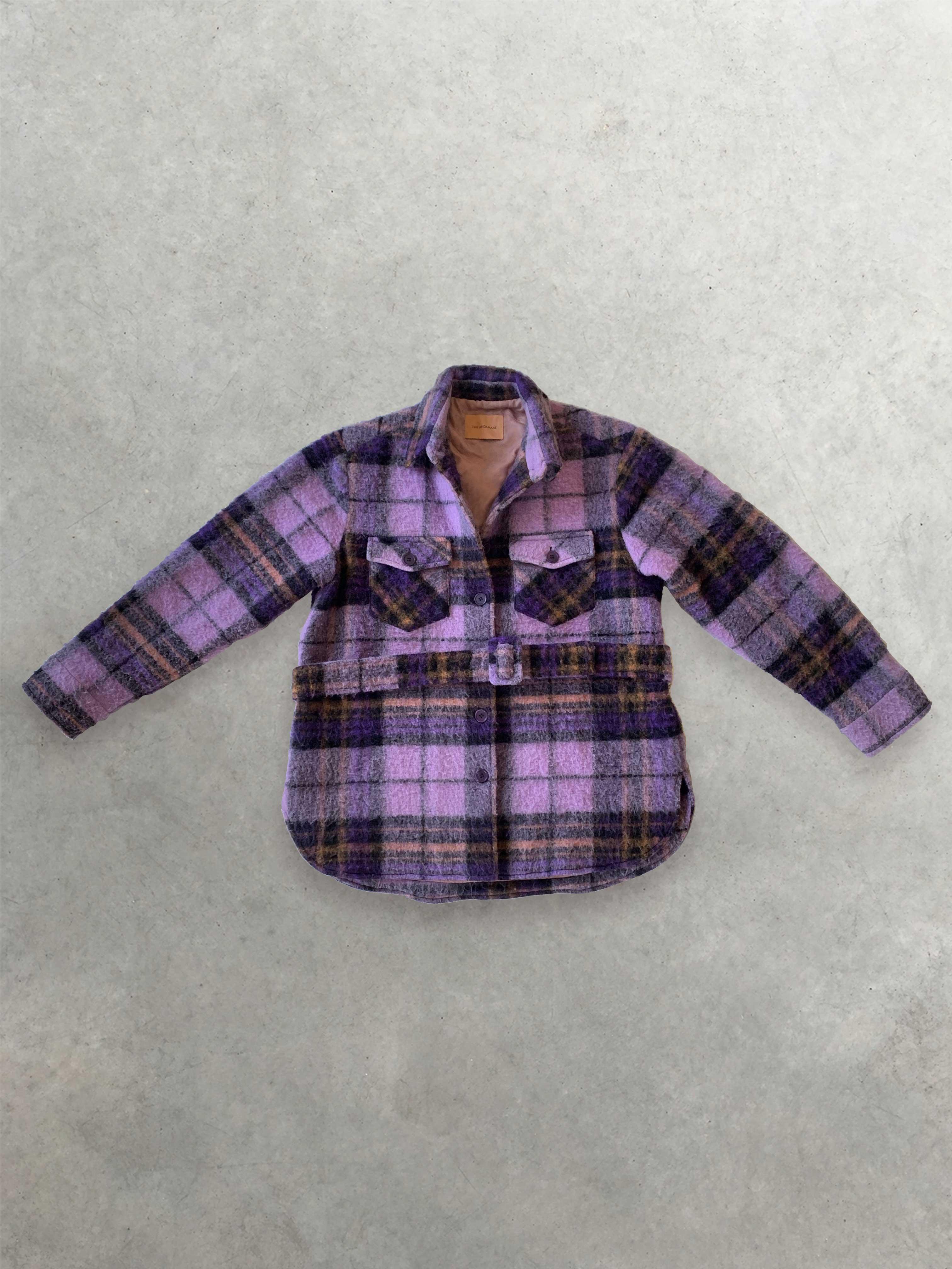 Packshot de Veste à Carreaux Violette Oversize par la marque The Andamane