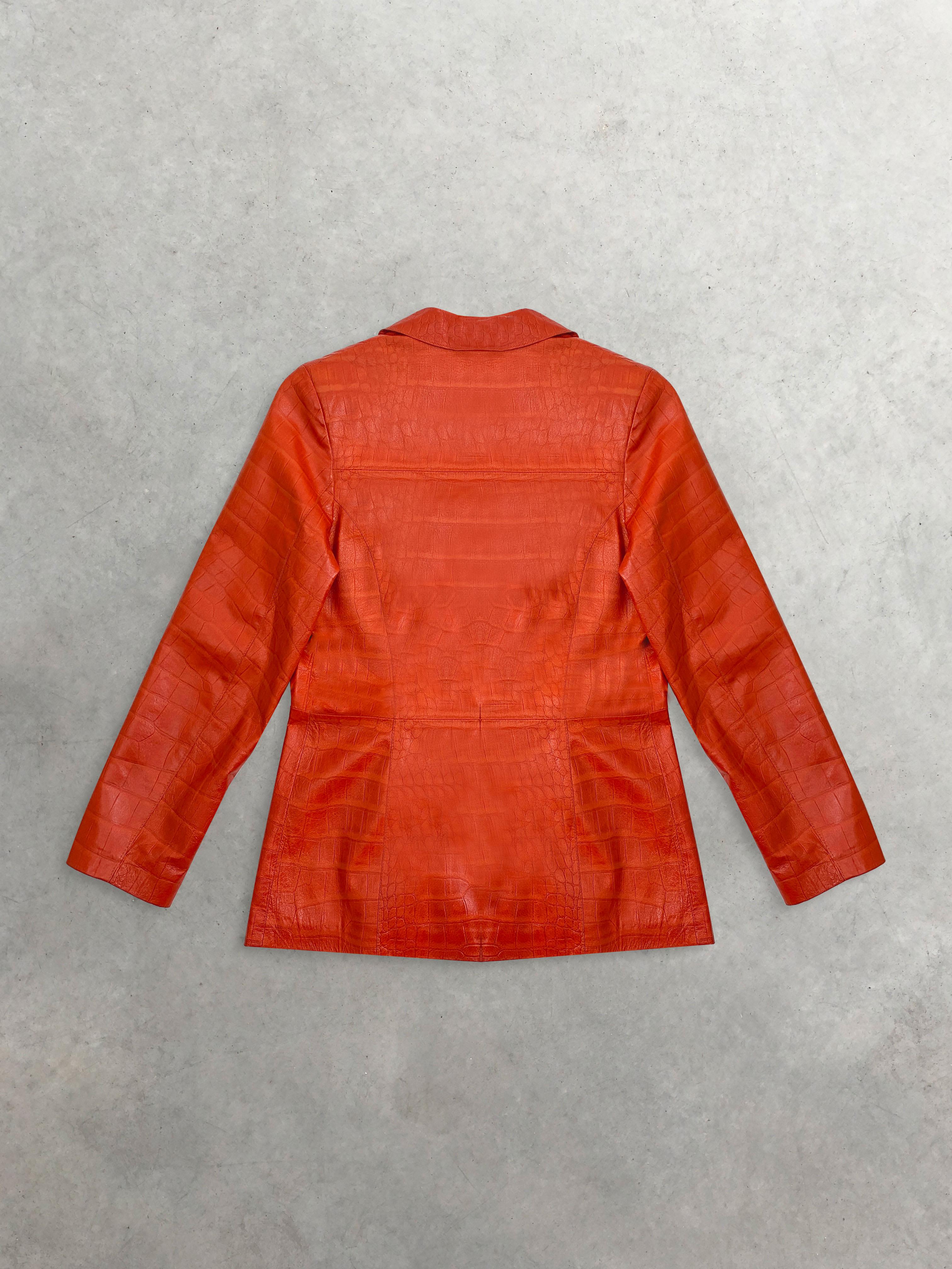 Packshot du produit Veste Tailleur en Cuir Orange Serra by Torras Vintage de la catégorie Vestes & Manteaux