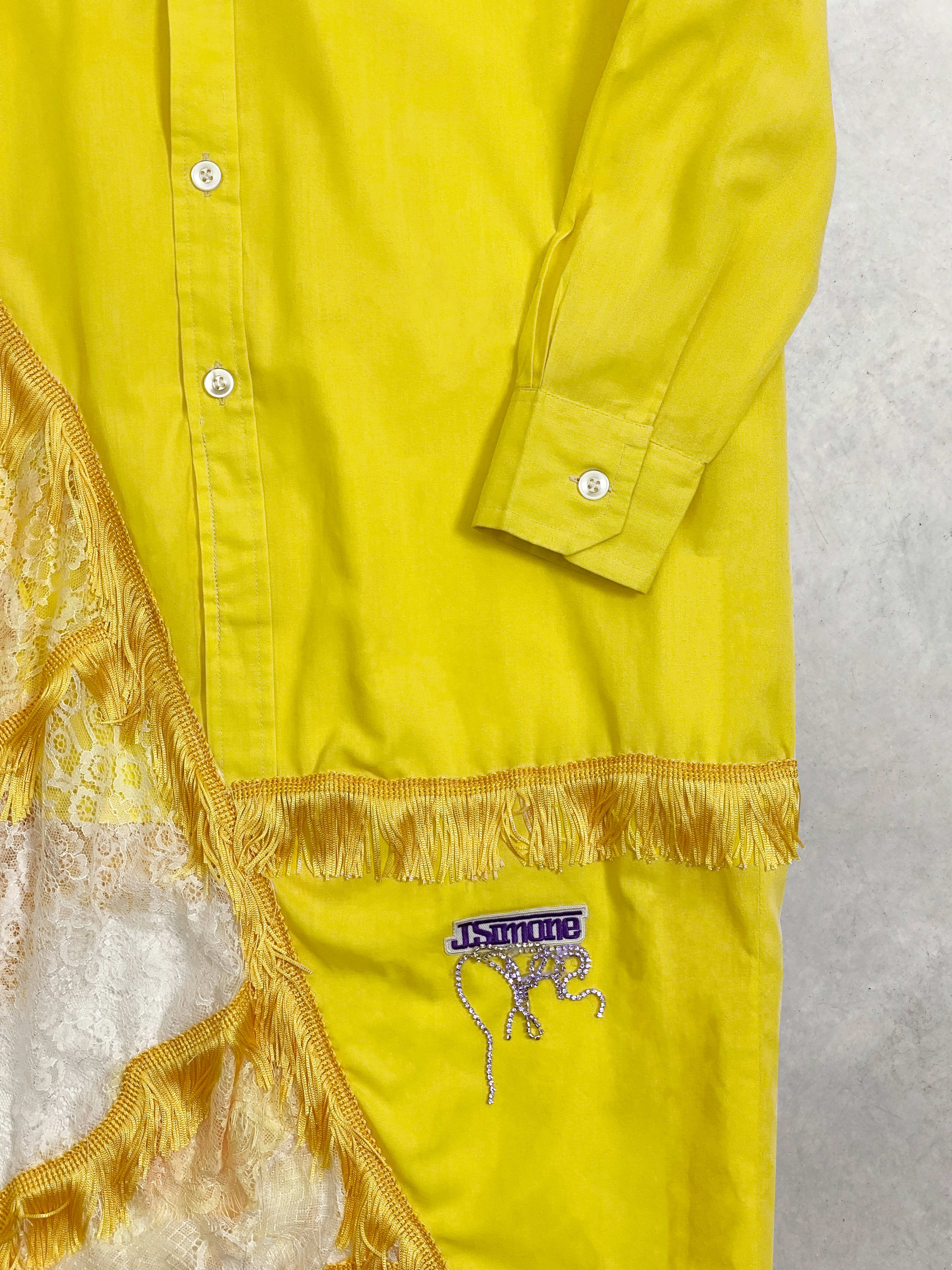 Packshot du produit Chemise Asymétrique Déstructurée en Coton et Dentelle de la marque Maison J. Simone