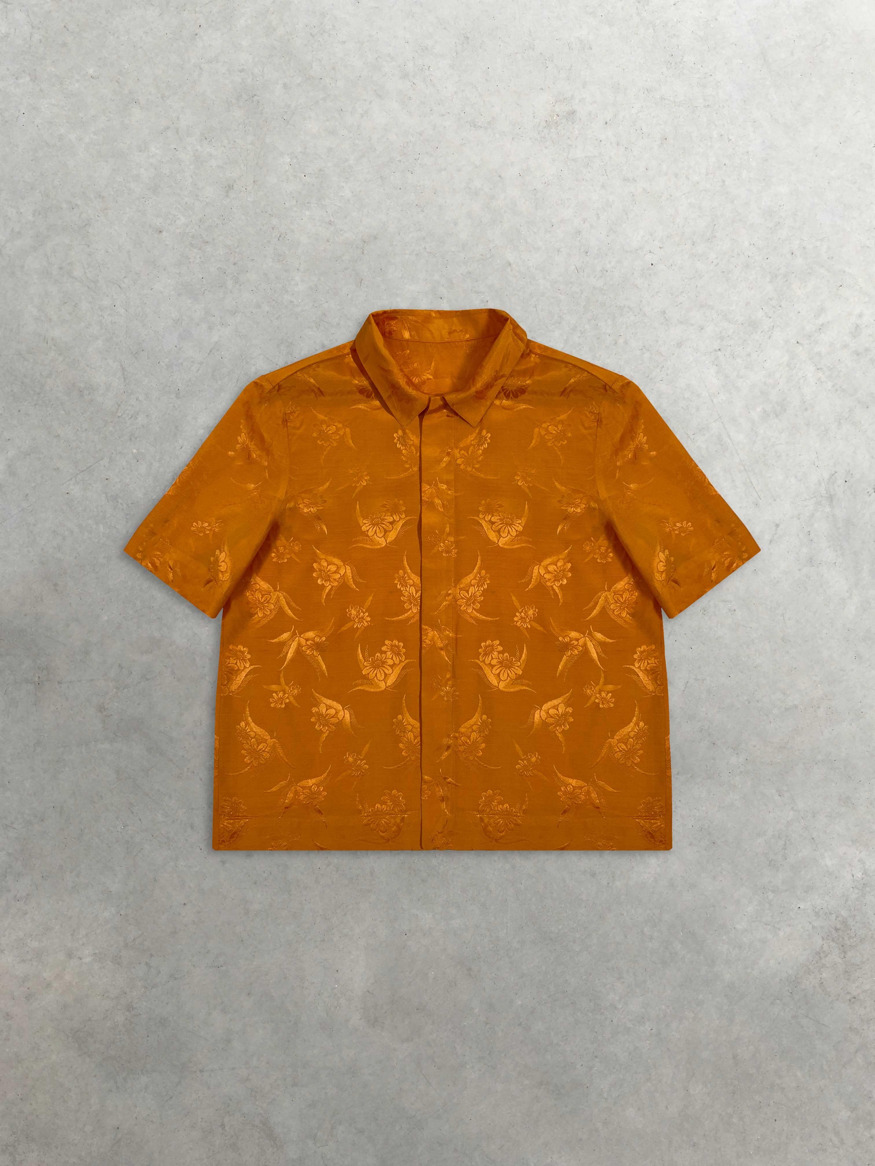 Packshot du produit Chemisette Orange en Jacquard de Soie  de la marque Leloup