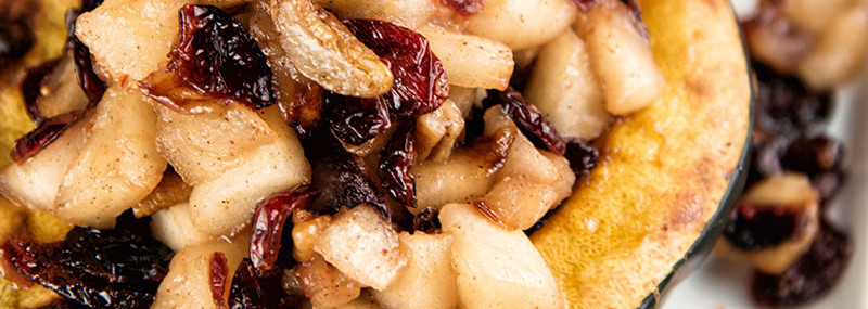 Apple, Walnut, and Cranberry Stuffed Squash