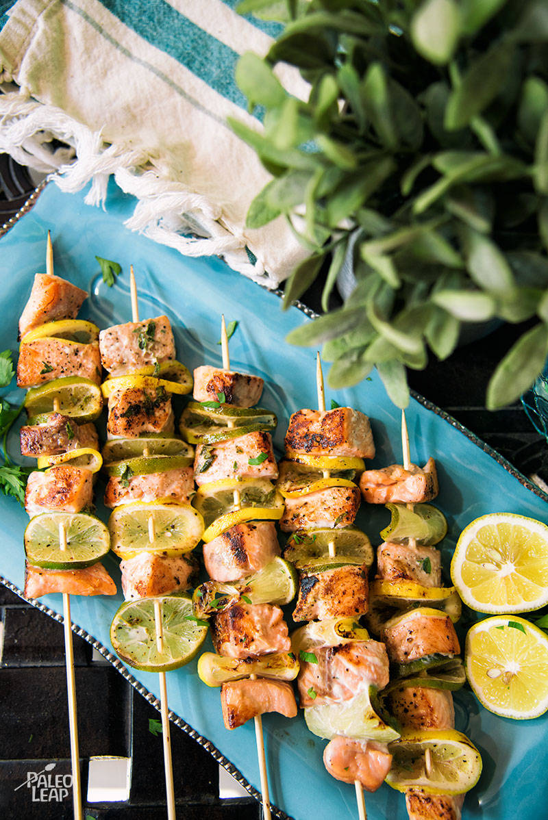 Grilled Salmon Lemon And Lime Skewers