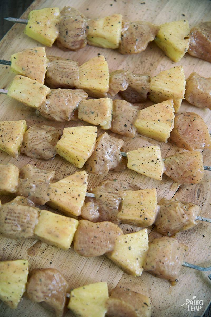 Pineapple Chicken Skewer preparation