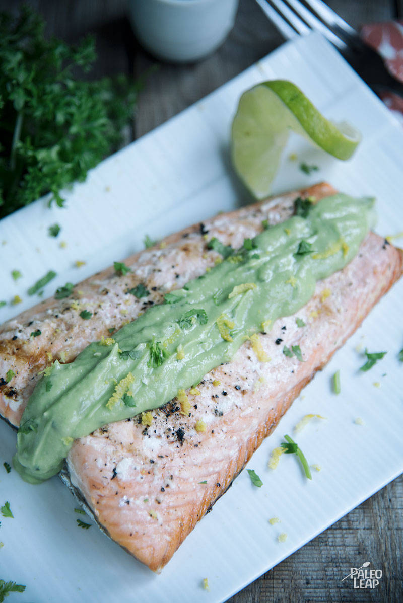 Grilled Salmon With Avocado-Coconut Sauce