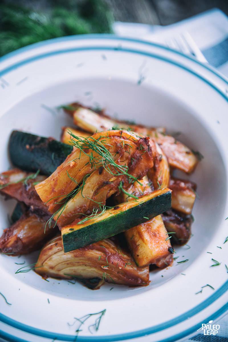 Braised Fennel and Zucchini in Tomato Sauce Recipe