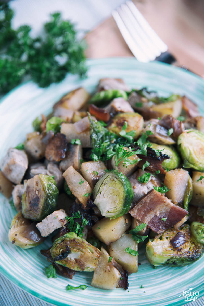 Pork with Sautéed Apples and Brussels Sprouts Recipe