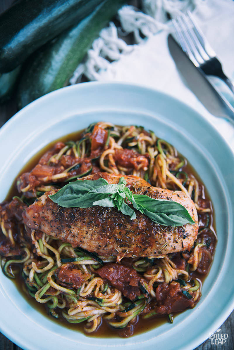 Garlic-Basil Chicken with Zoodles Recipe