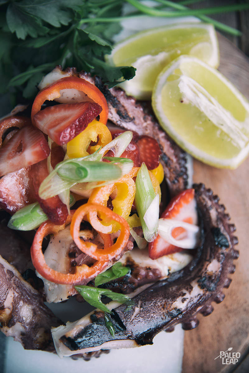 Grilled Octopus eith Strawberry Salsa Recipe