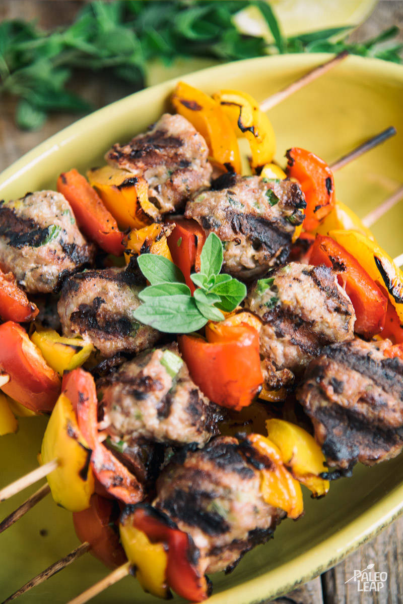 Mediterranean Turkey Meatball Skewers