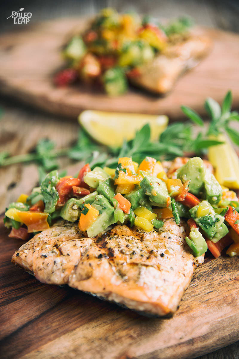 Simple Grilled Salmon with Avocado Salsa