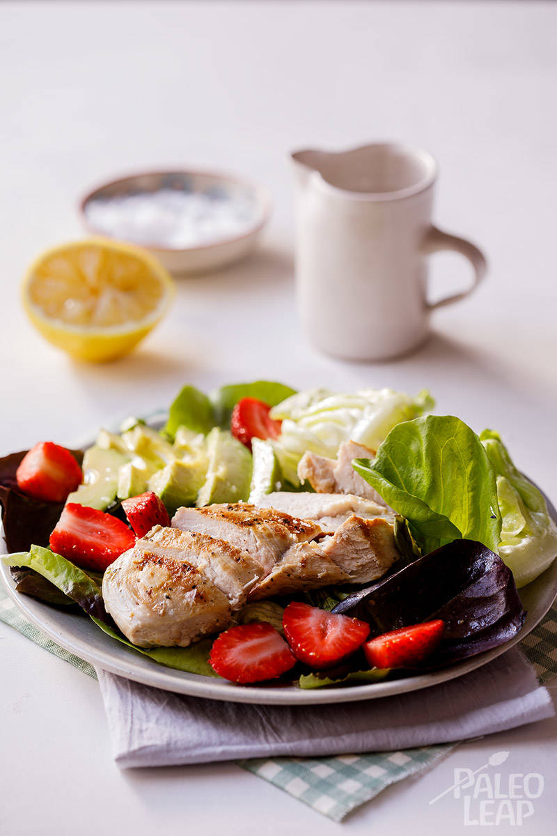 Grilled Chicken with Strawberry and Avocado Salad