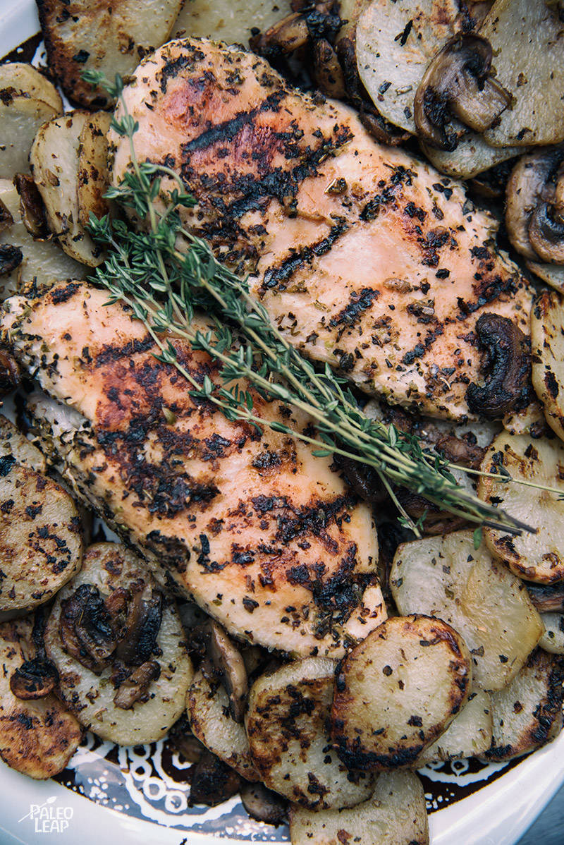 Grilled Garlic and Herb Chicken and Potatoes Recipe