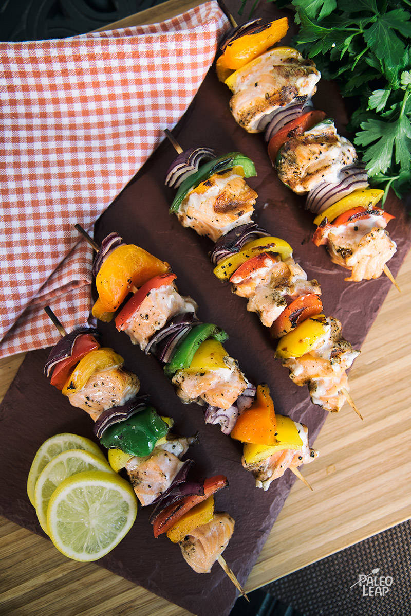 Grilled Salmon And Bell Pepper Skewers