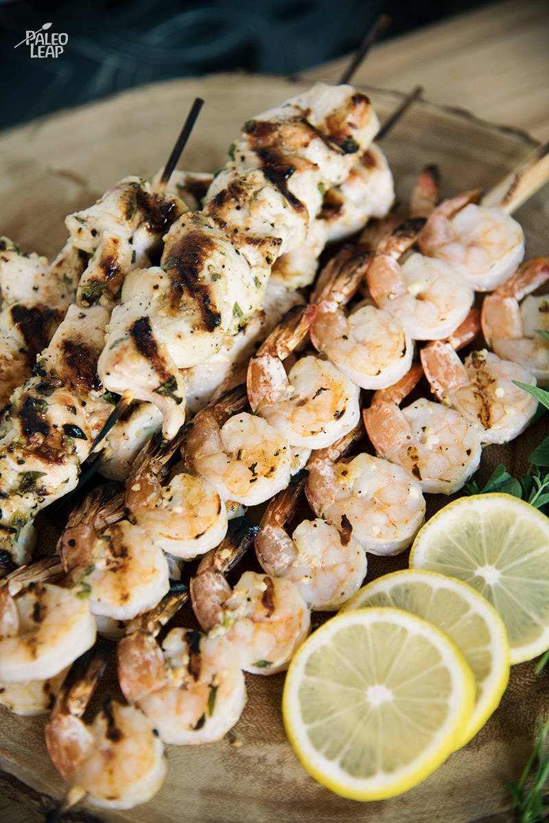 Lemon-Oregano Shrimp And Chicken Skewers