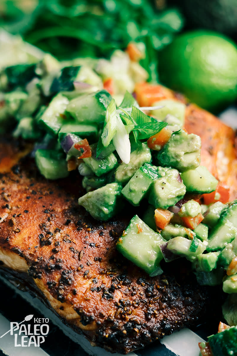 Keto Baked Salmon with Avocado Salsa
