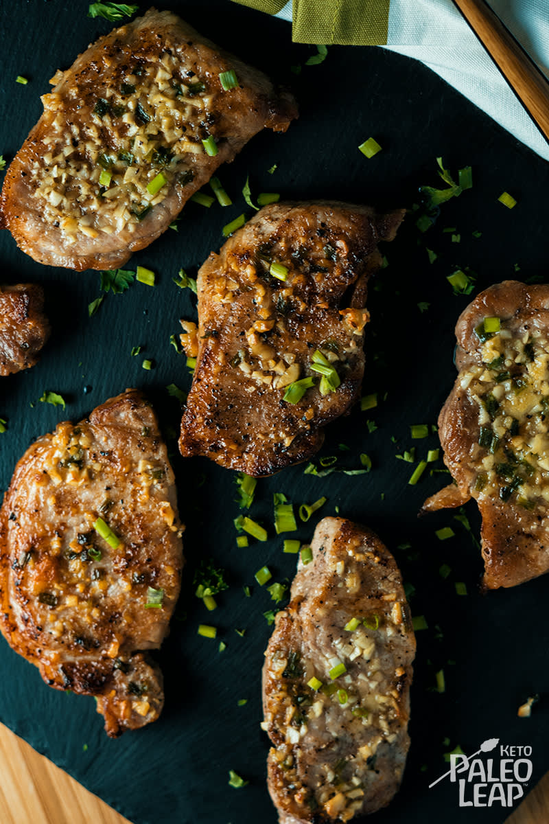 Keto Garlic Chive Pork Chops