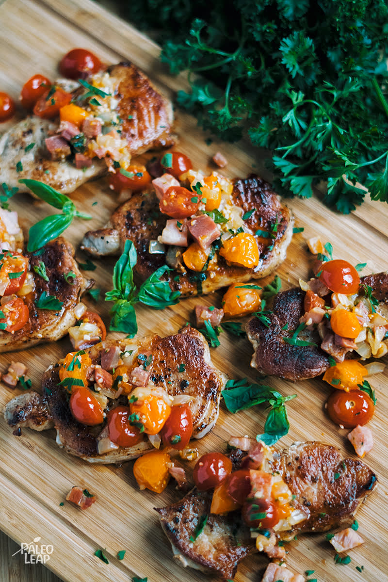 Pork Chops With Tomato-Pancetta Salad