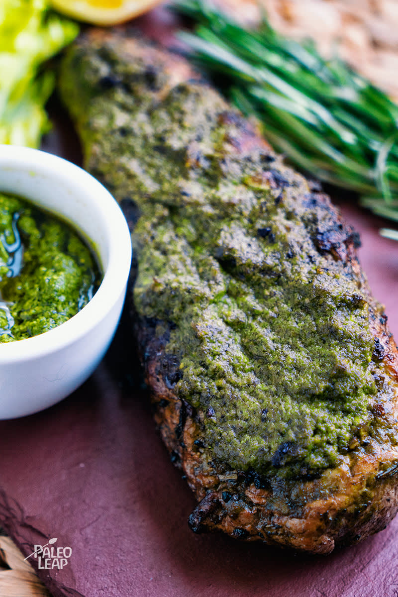 Pork Loin With Pesto Sauce