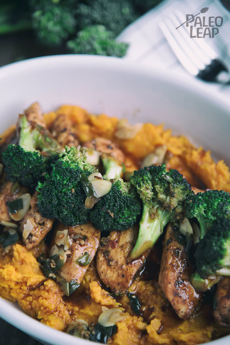 Glazed Chicken With Broccoli And Mashed Sweet Potatoes