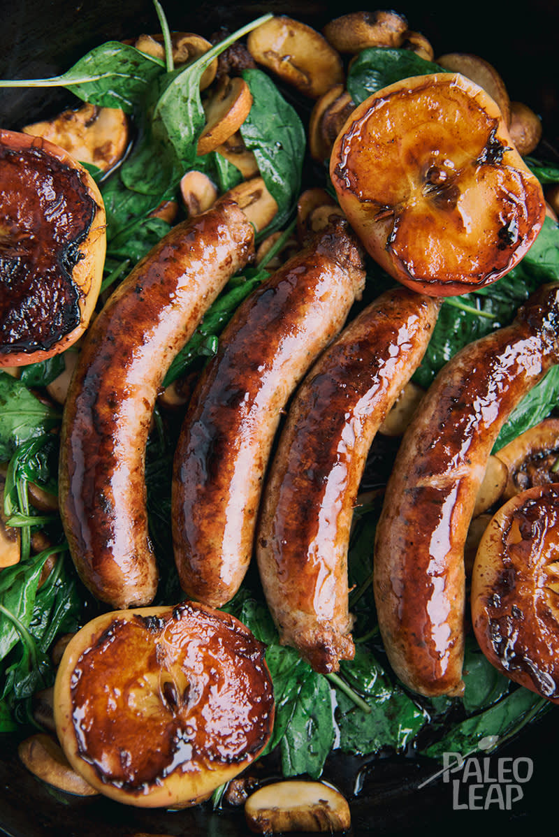 Skillet Sausages with Pan Seared Apples