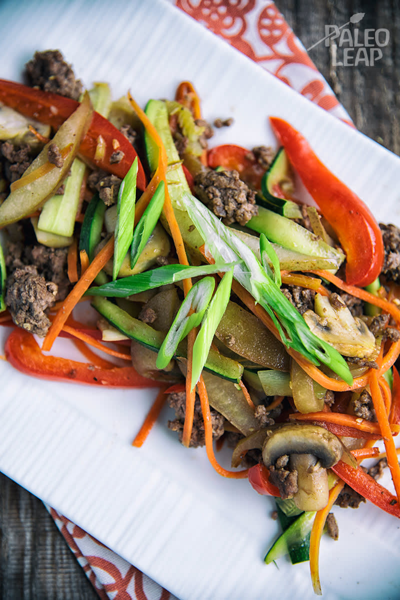 Pear And Bell Pepper Ground Beef Stir-Fry
