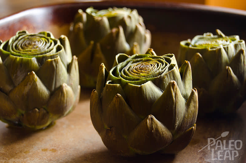 Slow Cooked Garlic Artichokes