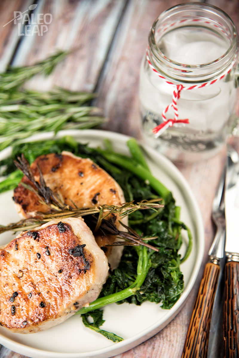 Keto Rosemary Pork Chops With Sautéed Rapini