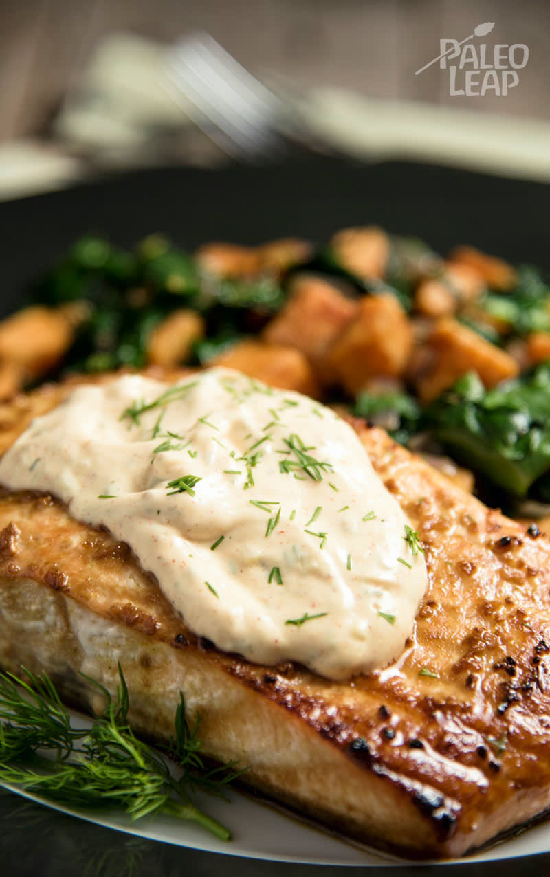 Grilled Salmon With Tartar Sauce And Sweet Potatoes