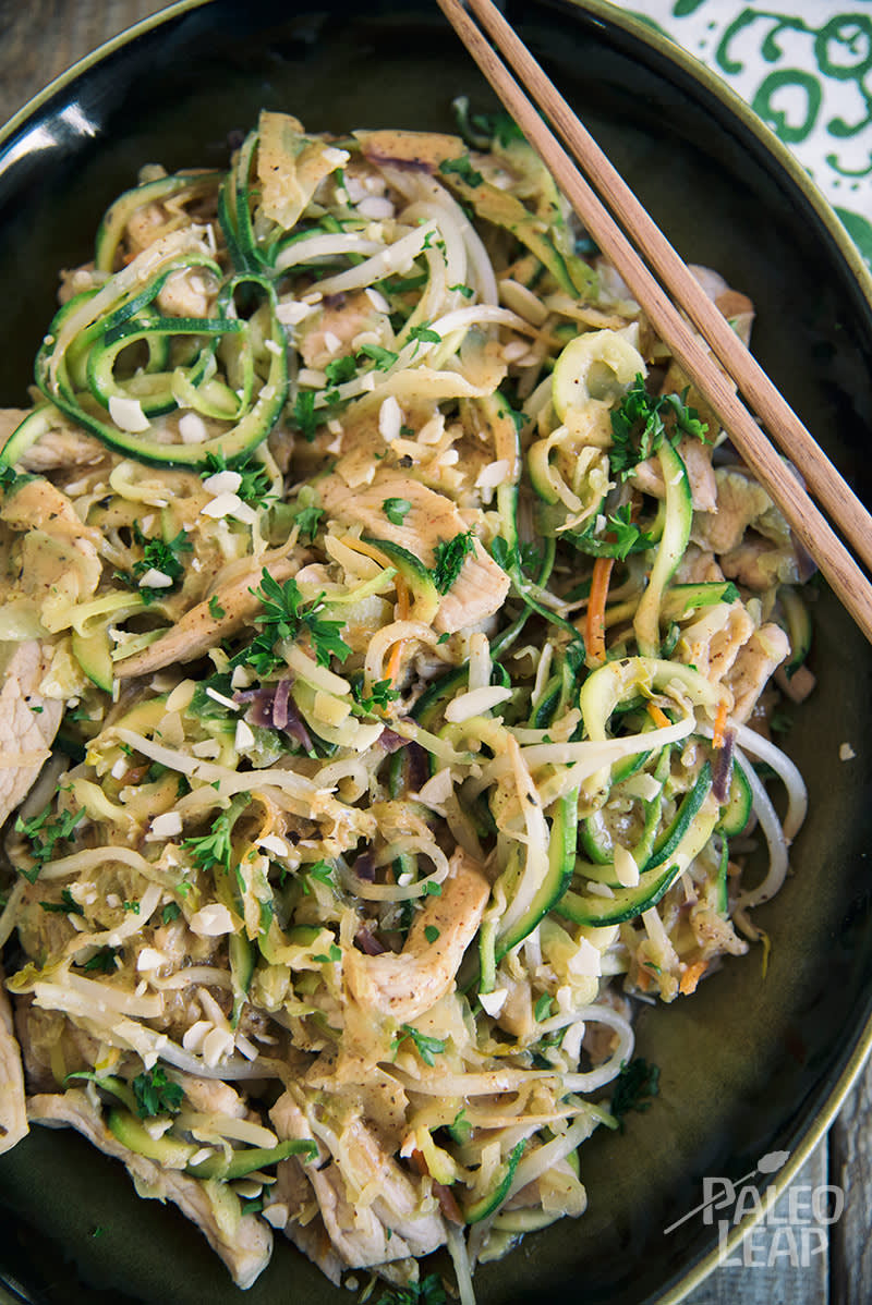 Almond Butter Chicken With Zucchini Noodles