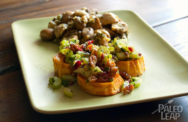 Sweet Potato Bites And Roasted Mushrooms