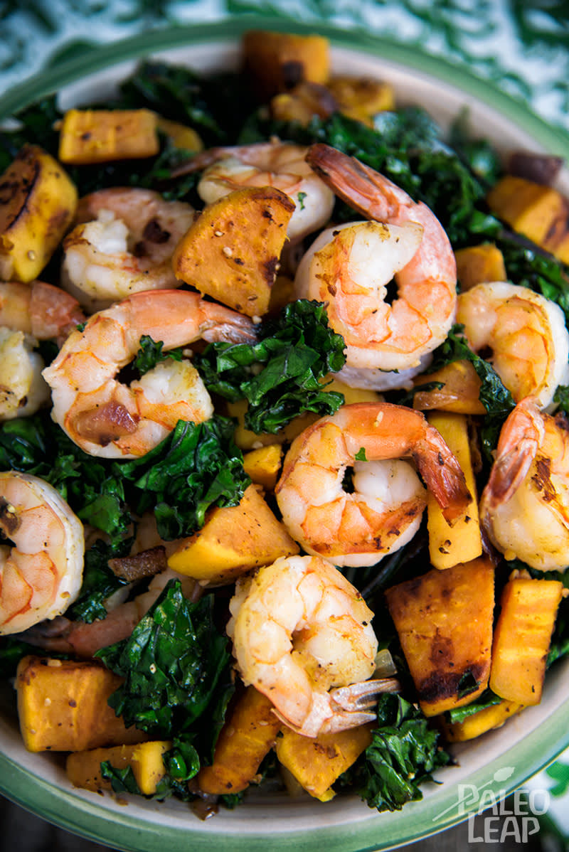 Shrimp, Sweet Potato And Kale Bowl