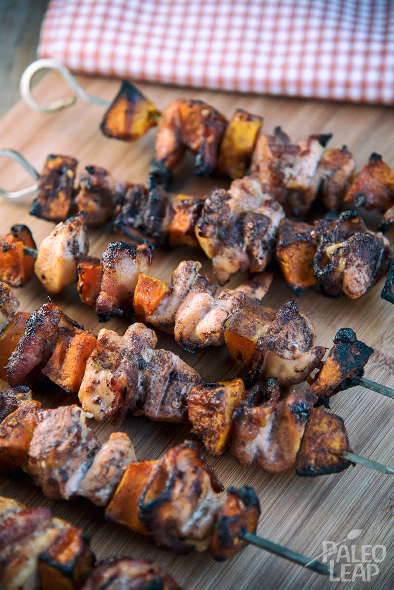 Chicken, Bacon And Sweet Potato Skewers