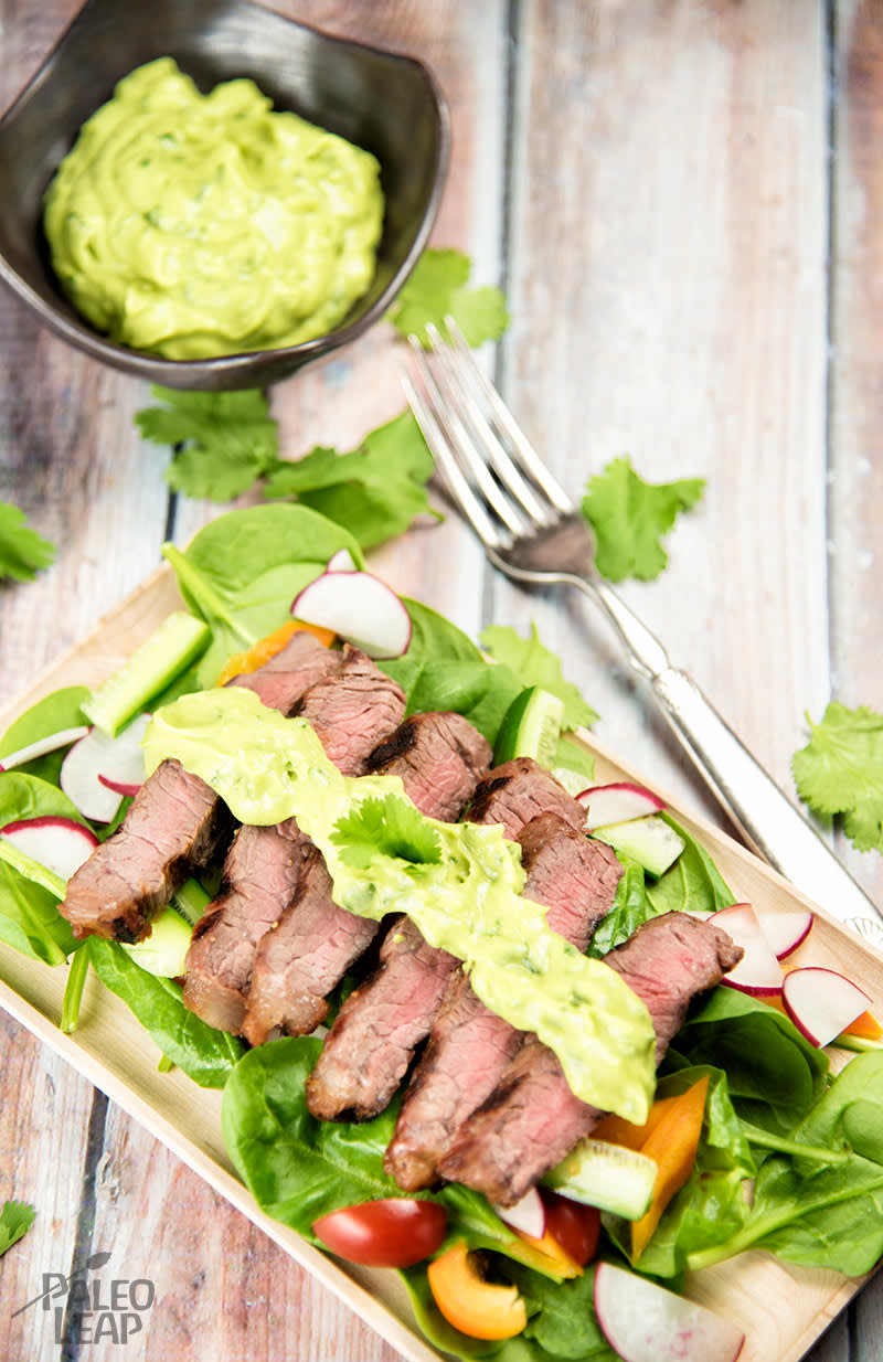Steak Salad with Avocado Dressing