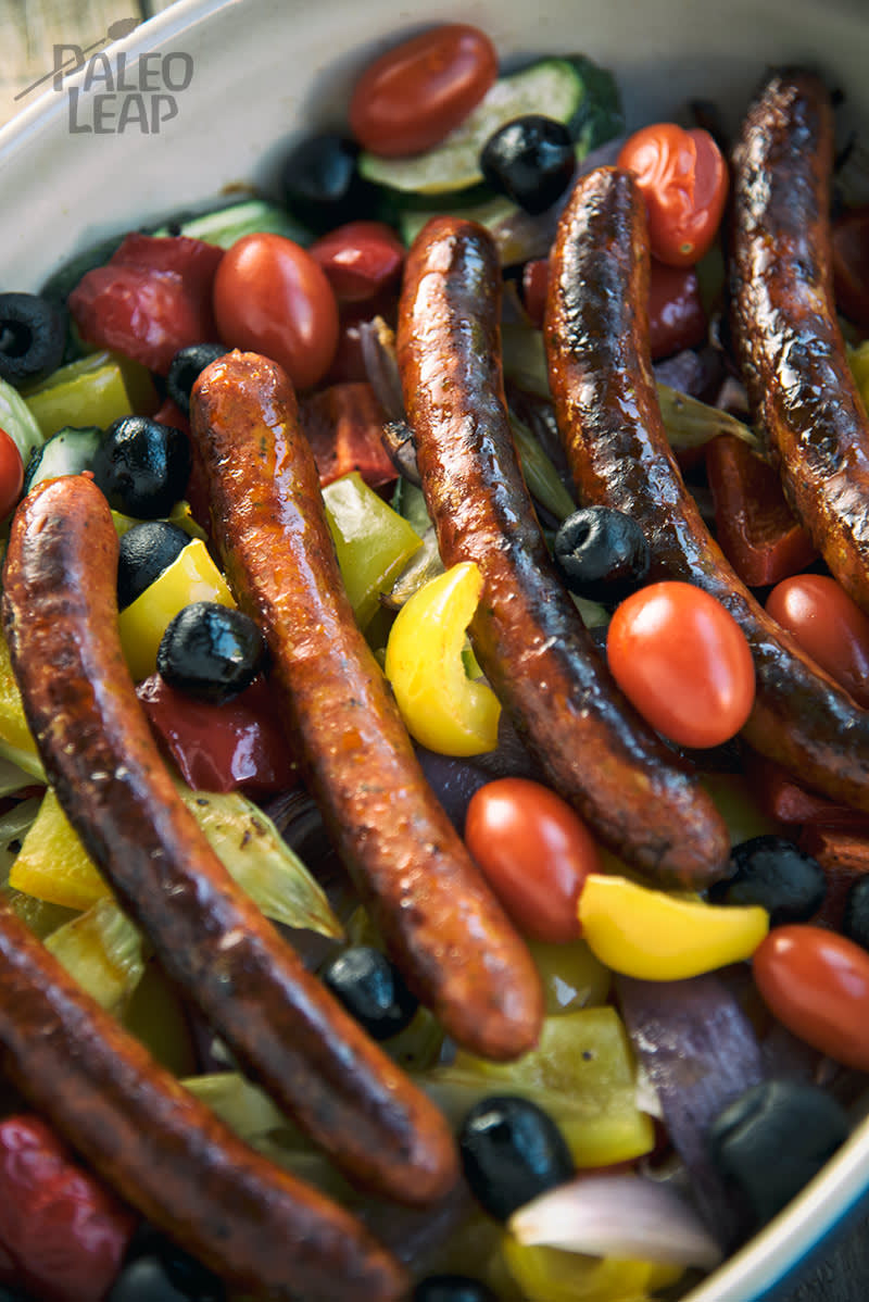 Keto Sausages With Tuscan-Style Vegetables