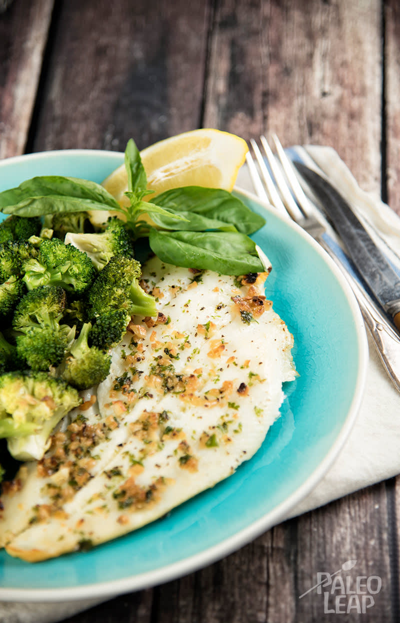 Broiled Halibut With Toasted Garlic Broccoli