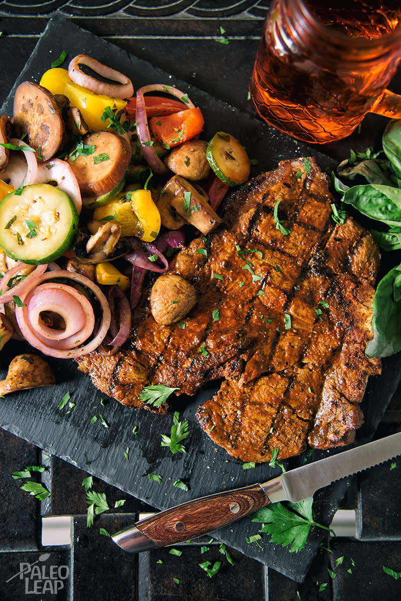 Grilled T-Bone Steak with Vegetable Salad